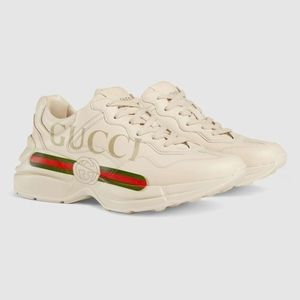 Gucci Rhyton Logo Ivory Leather Sneakers